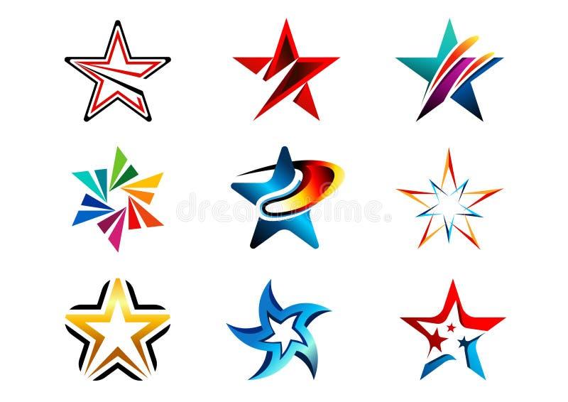星,商标,创造性的套摘要担任主角商标汇集,星标志传染媒介设计元素 皇族释放例证