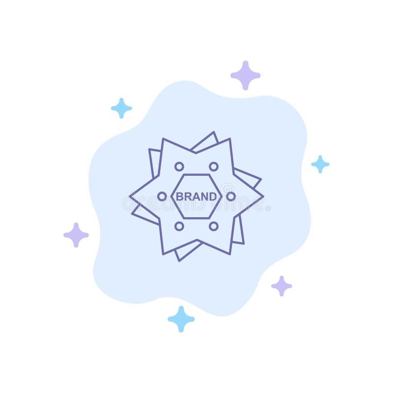 星,烙记,品牌,商标,在抽象云彩背景的形状蓝色象 皇族释放例证
