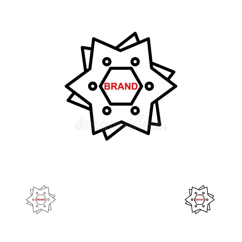 星,烙记,品牌,商标,塑造大胆和稀薄的黑线象集合 向量例证