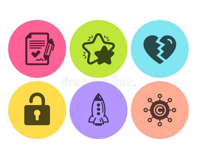 星,破坏和火箭队象集合 锁、批准的协议和Copywriting网络标志 ?? 库存例证