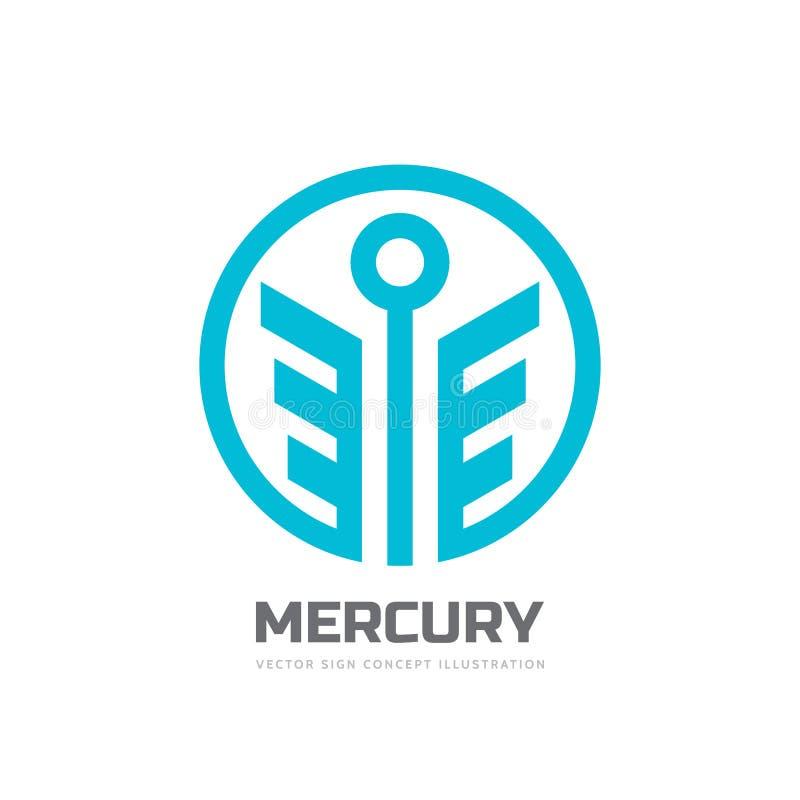 水星-传染媒介商标模板概念例证 商业抽象创造性的标志的风格化上帝 幸福企业标志 库存例证