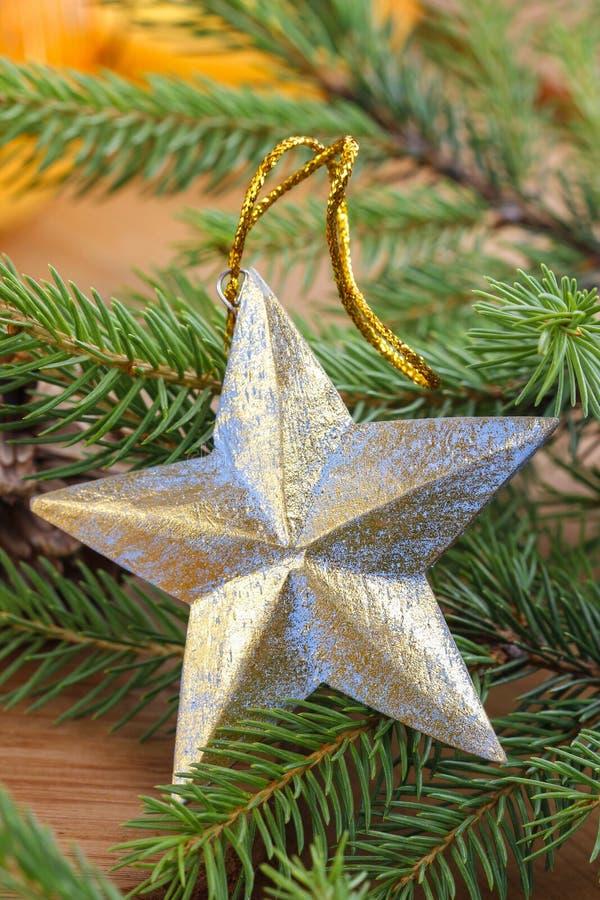 星-圣诞树装饰 库存照片