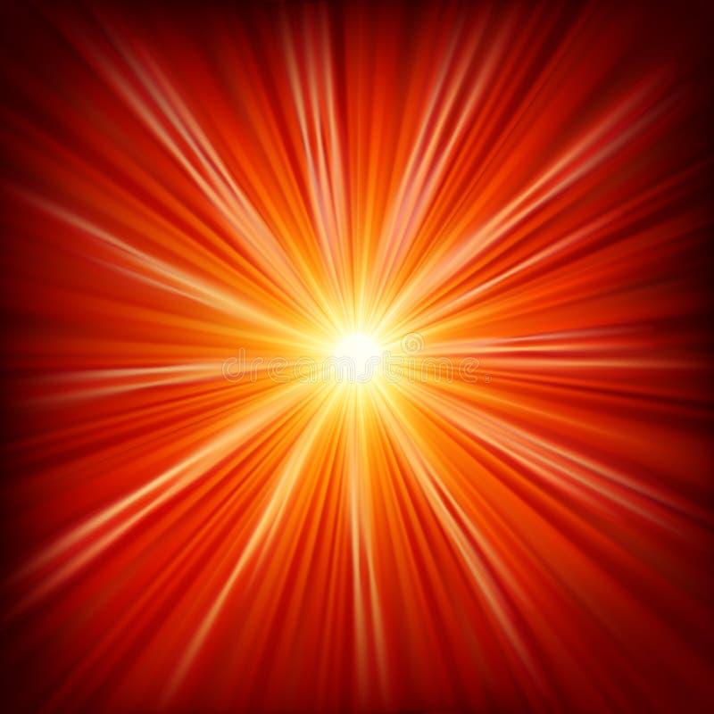 星破裂了红色和黄色火。EPS 10 向量例证