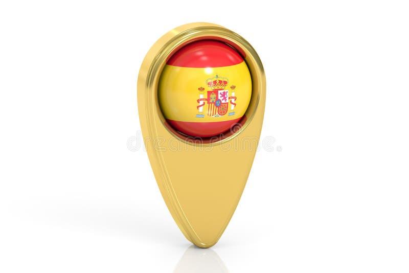 映射与西班牙, 3D的旗子的尖翻译 向量例证