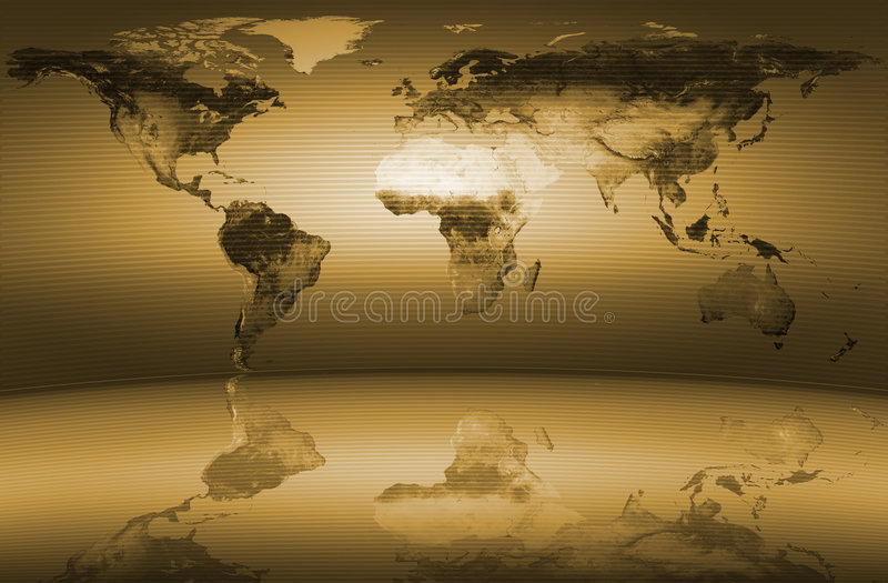 映射世界黄色 向量例证
