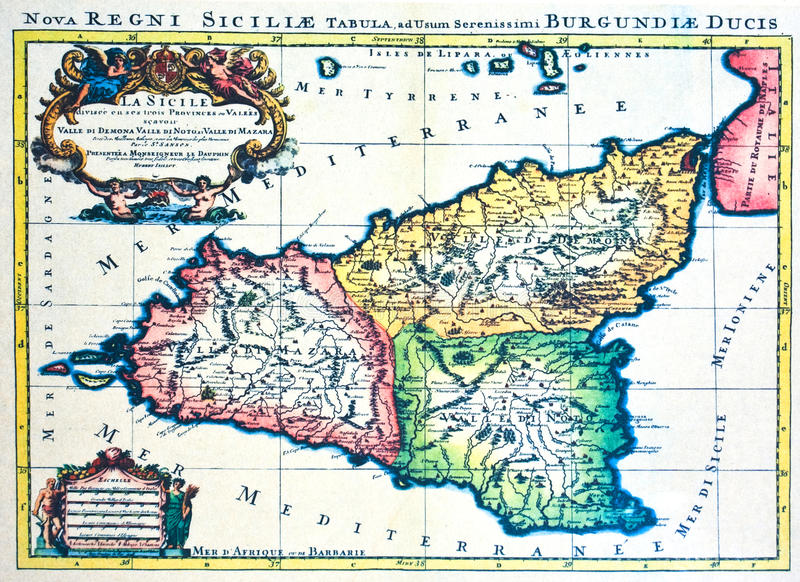 映射中世纪西西里岛 免版税库存图片