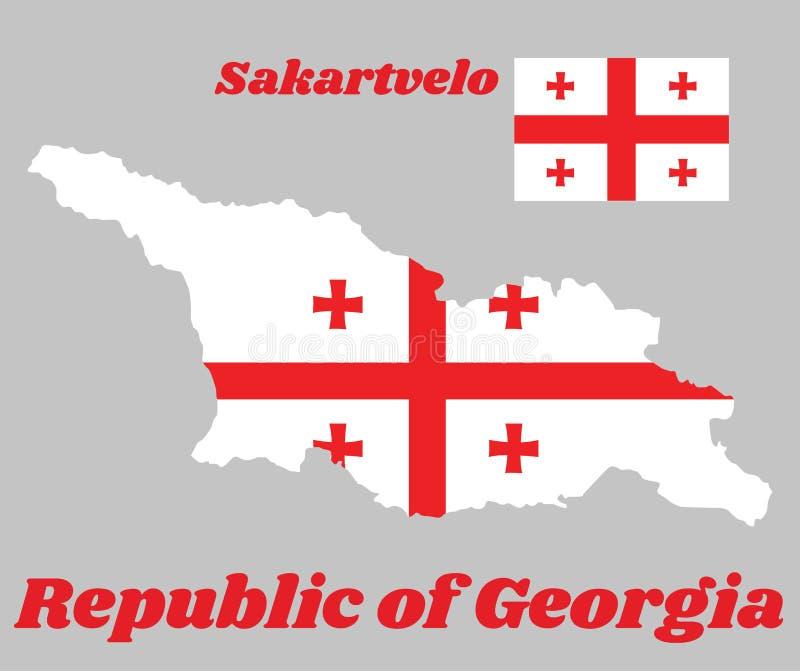 映射乔治亚,白色长方形概述和旗子,与大红十字 在四个角落有四个Bolnur-Katskhuri阴级射线示波器 库存例证