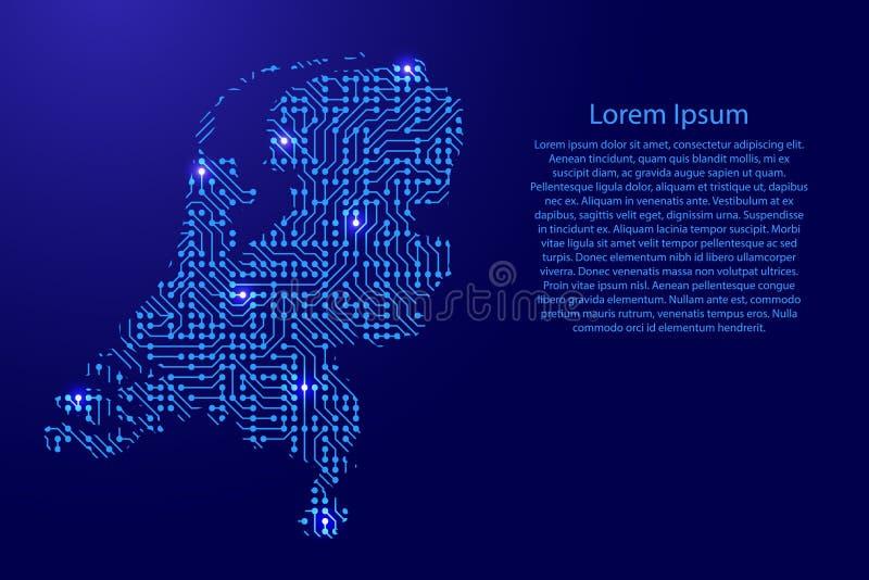 映射从打印的委员会、芯片和无线电组分机智的荷兰 库存例证