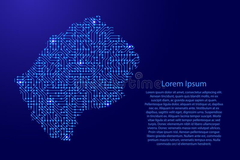 映射从打印的委员会、芯片和无线电组分的莱索托与bl 皇族释放例证