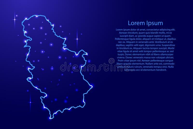 映射从蓝色等高的网络的塞尔维亚,光亮空间星 向量例证