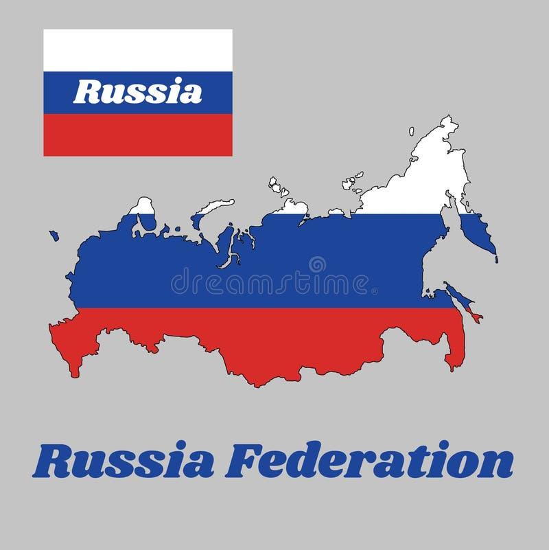 映射俄罗斯,它的概述和旗子包括三个相等的水平的领域的一面三色旗子 库存例证
