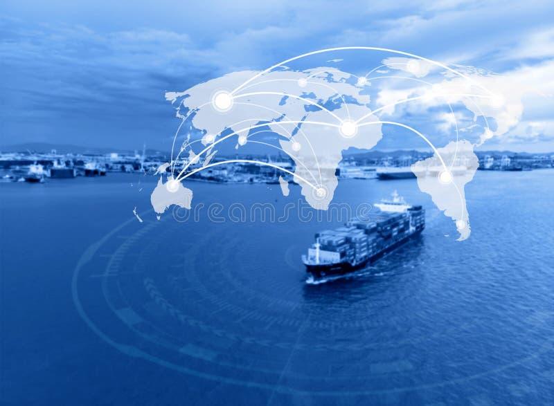 映射全球性连接概念,工业容器货物货物 免版税库存图片