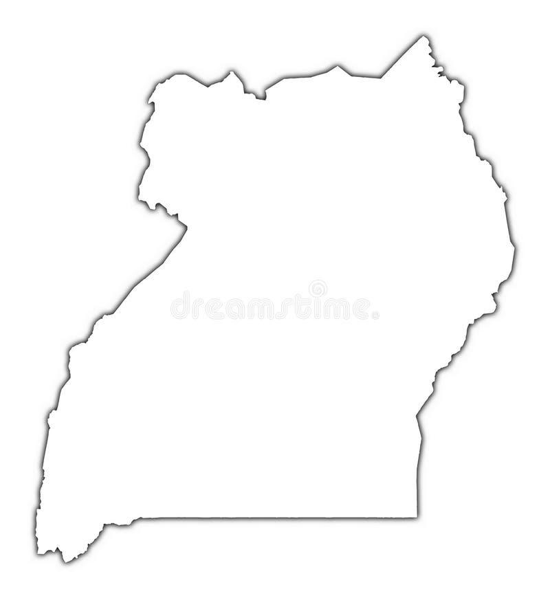 映射分级显示乌干达 库存例证