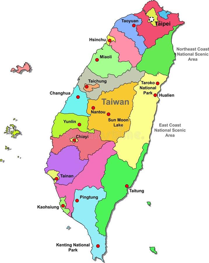 映射台湾 向量例证