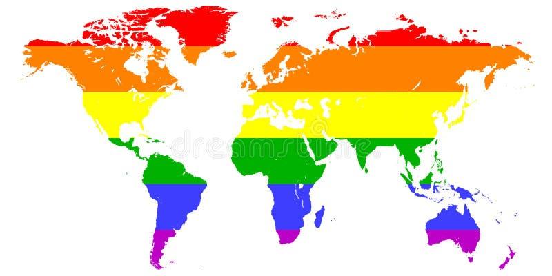 映射在彩虹LGBT旗子, LGBT传染媒介颜色背景的颜色绘的地球大陆的剪影 库存例证