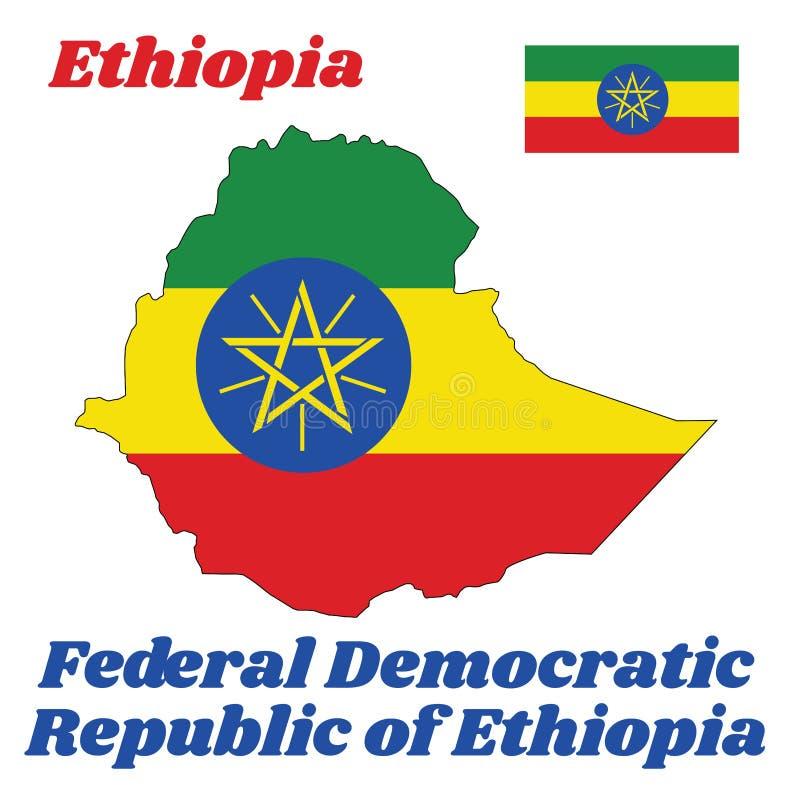 映射埃塞俄比亚的概述和旗子,一水平三色绿色、黄色和红色与国徽被叠加在中心 皇族释放例证