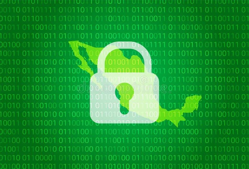 映射墨西哥 例证有锁和二进制编码背景 阻拦的互联网,病毒攻击,保密性保护 库存例证