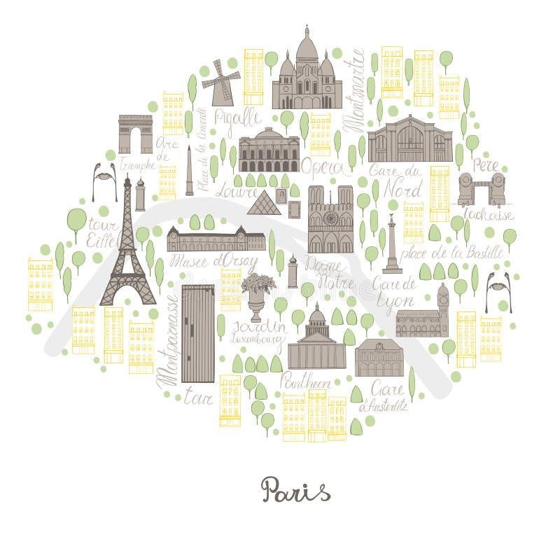 映射巴黎 传染媒介剪影例证 库存照片