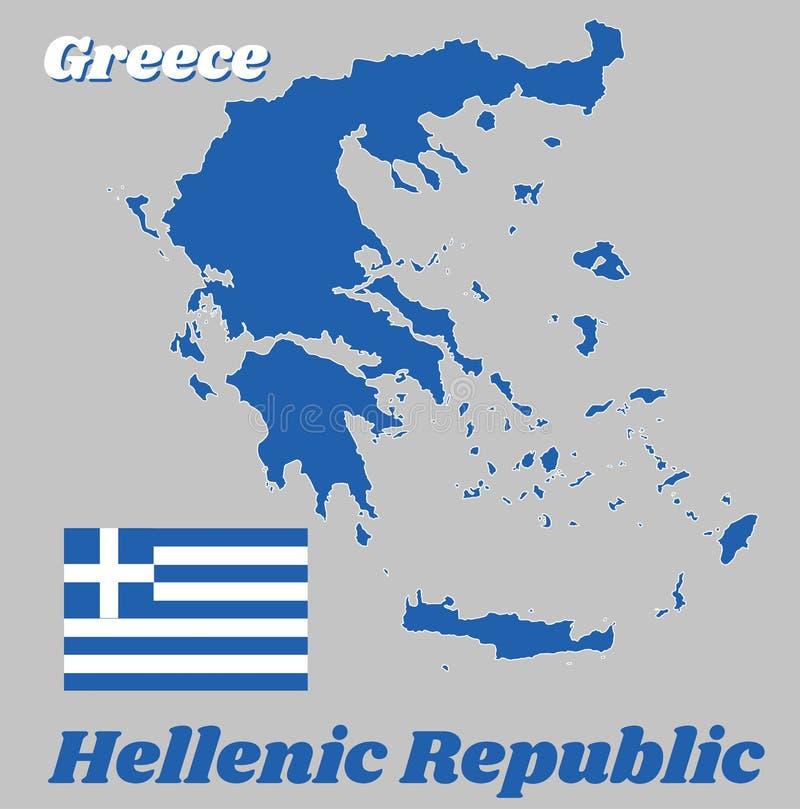 映射希腊、九水平的条纹、反过来蓝色和白色概述和旗子;在一个蓝色方形的领域的一个白色十字架在小行政区 皇族释放例证