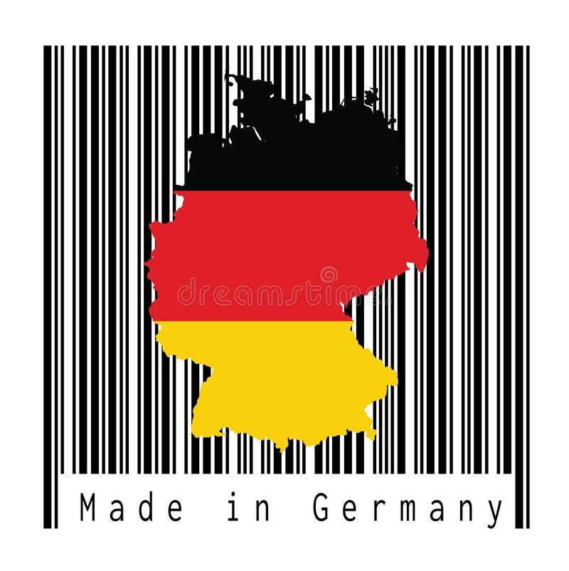 映射德国的概述和旗子,在黑条形码的黑红色和黄色颜色有白色背景,文本:德国制造 向量例证