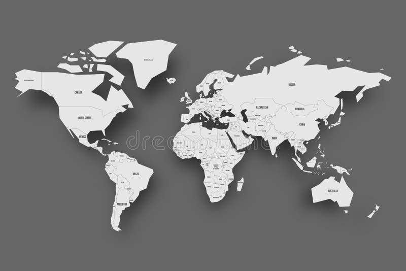 映射政治世界 与国家边界的浅灰色的与被投下的阴影的地图和标签在深灰背景 皇族释放例证