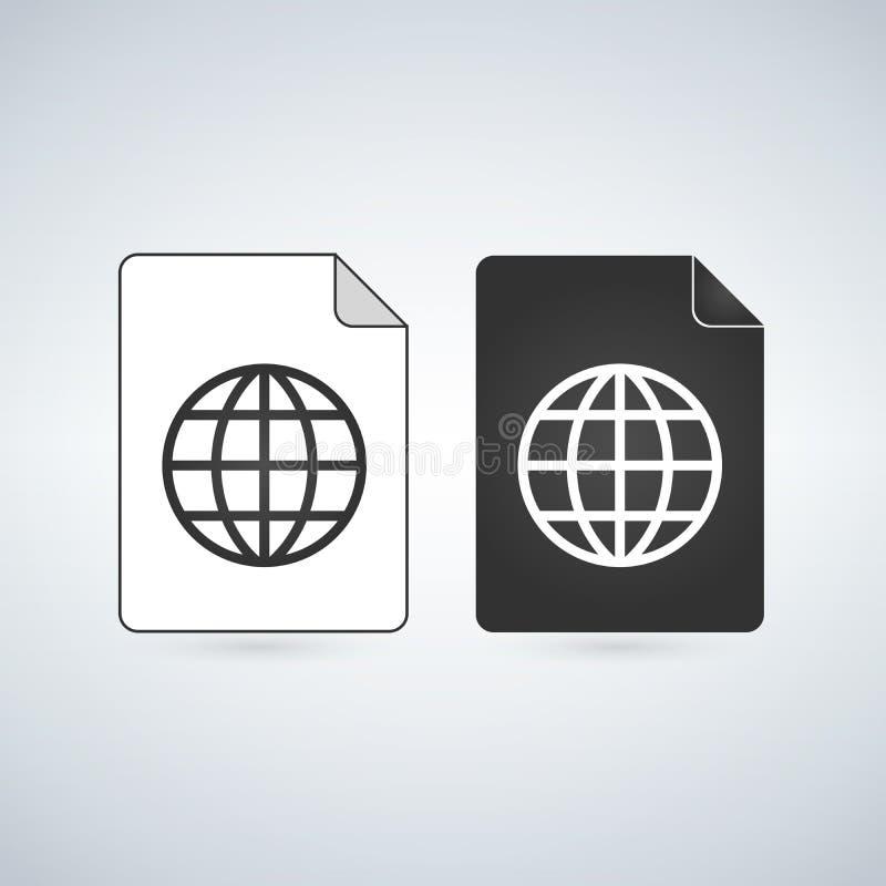 映射文件与地球线性象的传染媒介象 流动概念和网络设计的平的标志 纸doc简单的坚实象 Sy 向量例证