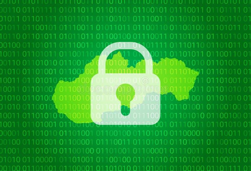 映射斯洛伐克 例证有锁和二进制编码背景 阻拦的互联网,病毒攻击,保密性保护 库存例证