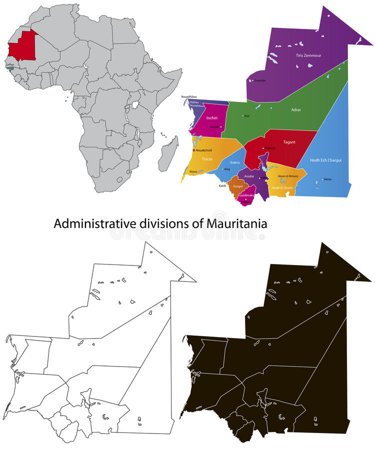 映射毛里塔尼亚 皇族释放例证