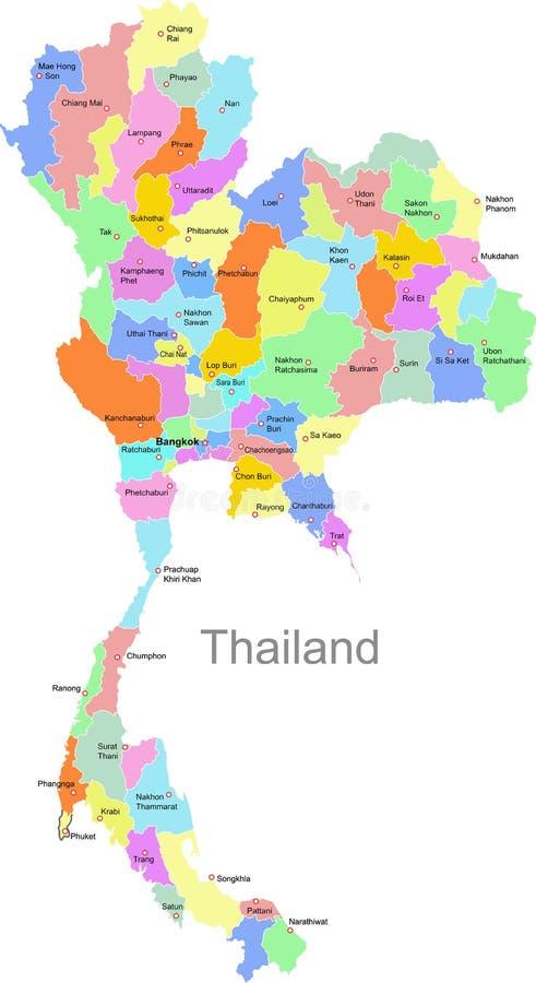映射泰国 库存例证