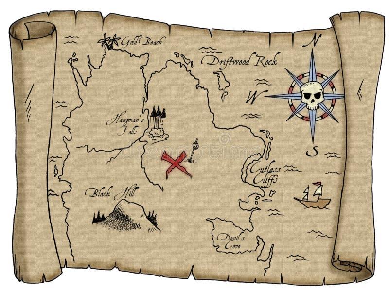 映射海盗珍宝 库存图片