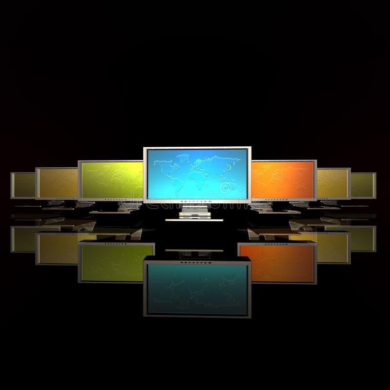 映射监控程序行 库存例证