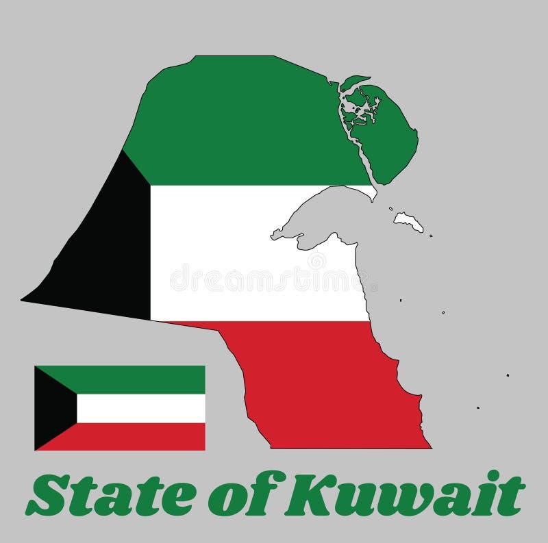 映射科威特的概述和旗子,绿色、白色和红色一水平的triband;使用根据卷扬机的黑色梯形支持 皇族释放例证