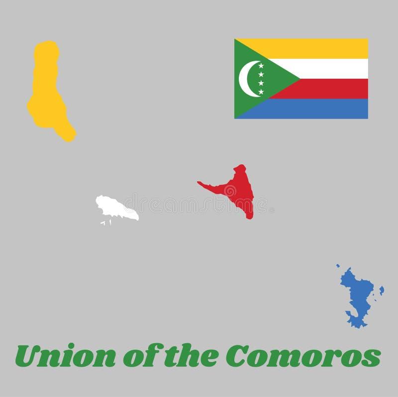 映射科摩罗,四水平的条纹的概述和旗子黄色,白色,红色和蓝色与一个绿色V形臂章 向量例证