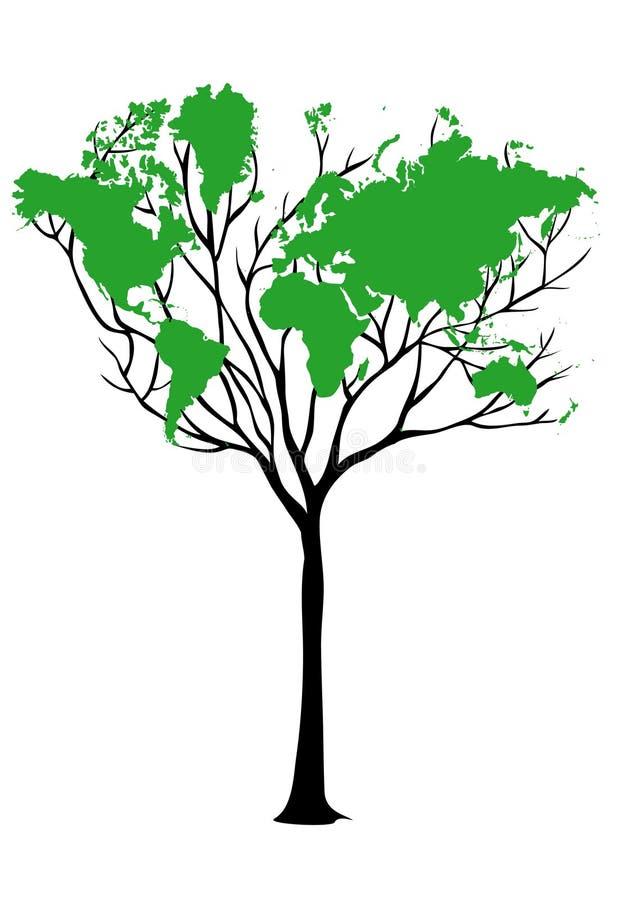映射结构树世界 向量例证