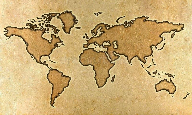 映射羊皮纸世界 库存照片