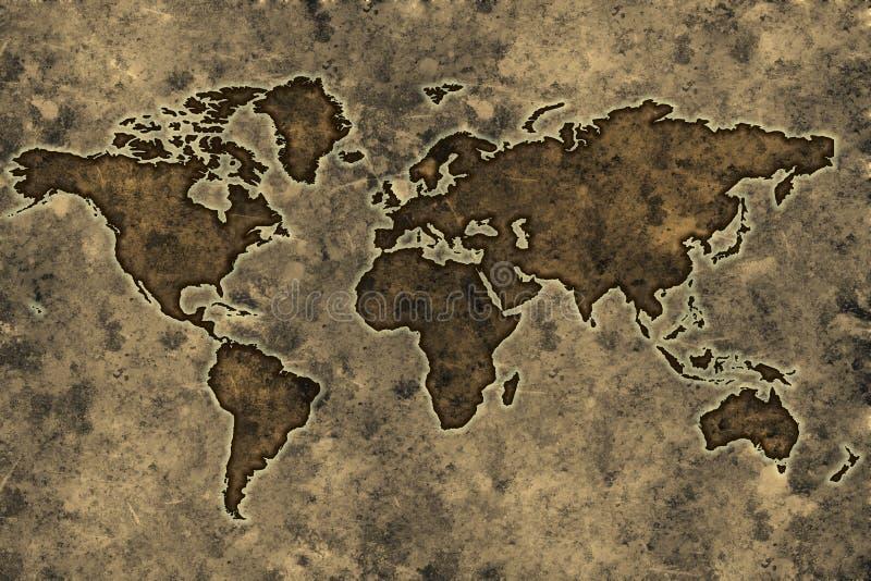 映射羊皮纸世界 库存例证