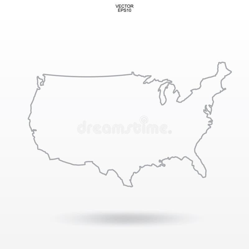 映射美国 `美利坚合众国在白色背景的`地图概述与软的阴影 库存例证