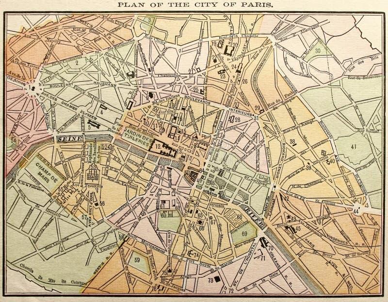 映射老巴黎街道 向量例证