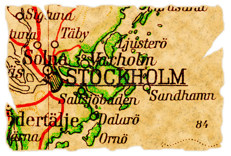 映射老斯德哥尔摩瑞典 库存图片
