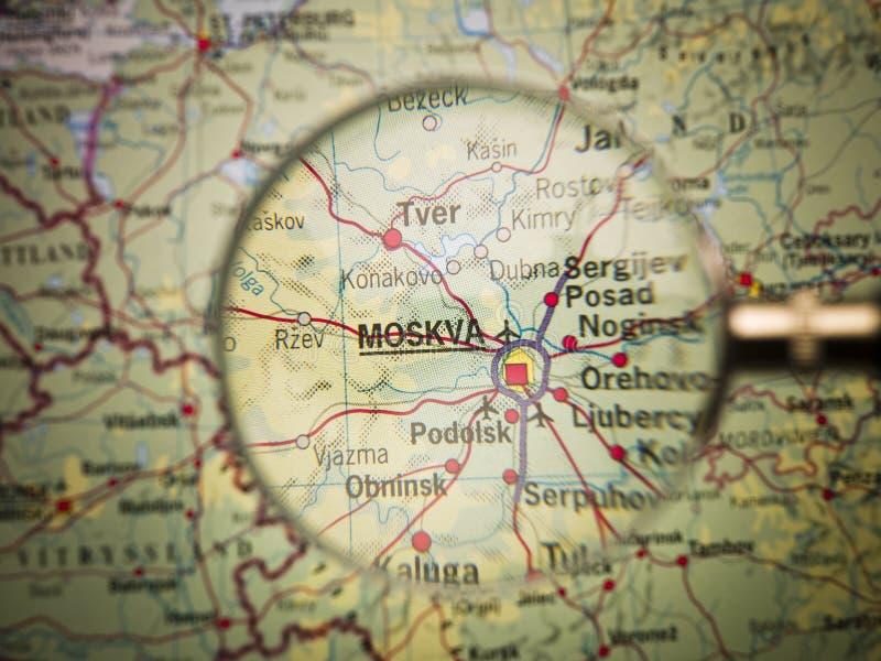 映射莫斯科 库存照片