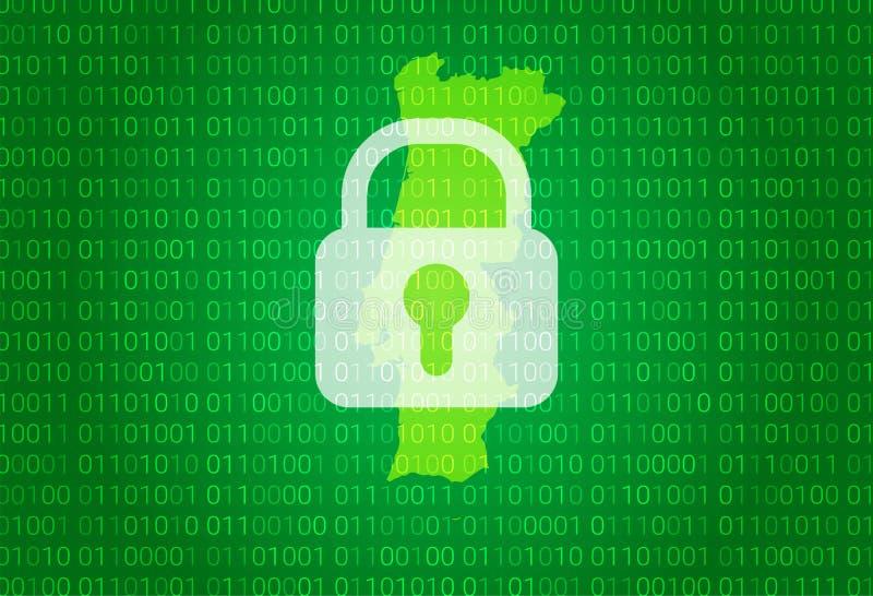 映射葡萄牙 例证有锁和二进制编码背景 阻拦的互联网,病毒攻击,保密性保护 皇族释放例证