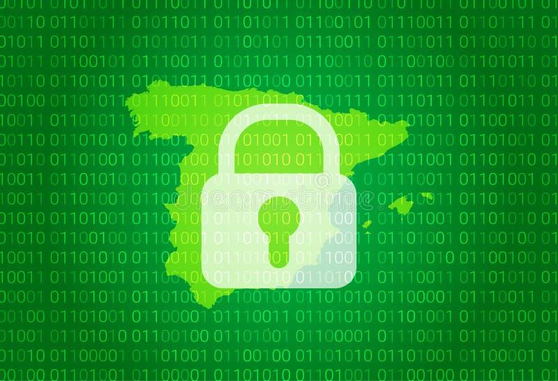 映射西班牙 例证有锁和二进制编码背景 阻拦的互联网,病毒攻击,保密性保护 向量例证