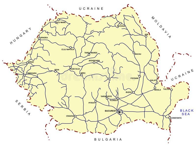 映射铁路罗马尼亚语 库存例证