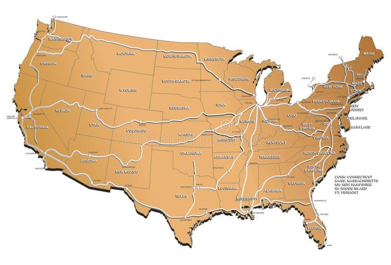 映射铁路美国 皇族释放例证