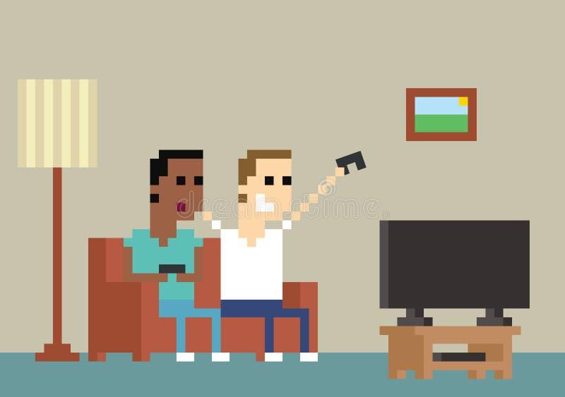 映象点在家一起使用的游戏玩家的艺术图象 向量例证