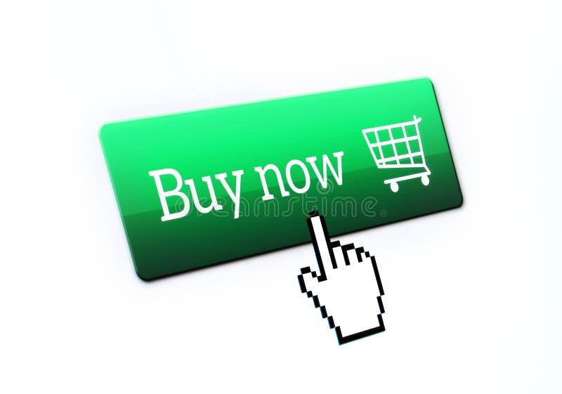 映象点手游标点和推挤购买现在按 免版税库存照片