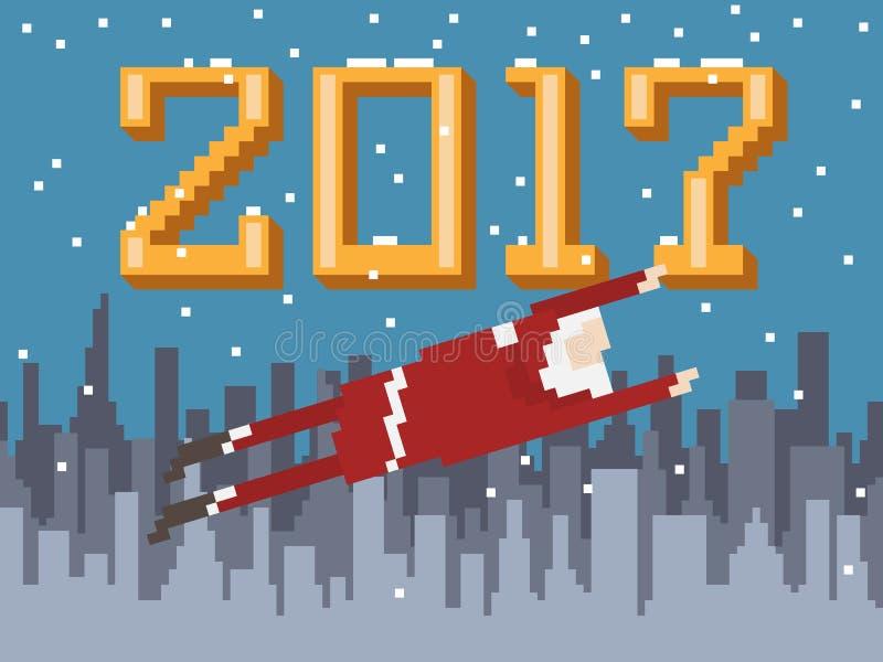 映象点艺术与飞行圣诞老人的新年明信片 向量例证