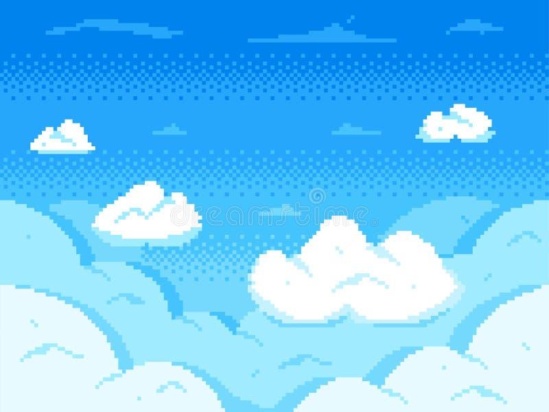映象点艺术天空 云彩8位地平线、减速火箭的电子游戏云彩风景和多云传染媒介背景 向量例证