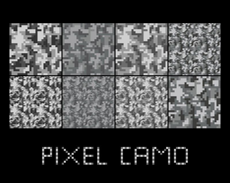 映象点camo无缝的样式大集合 都市灰色伪装 库存例证