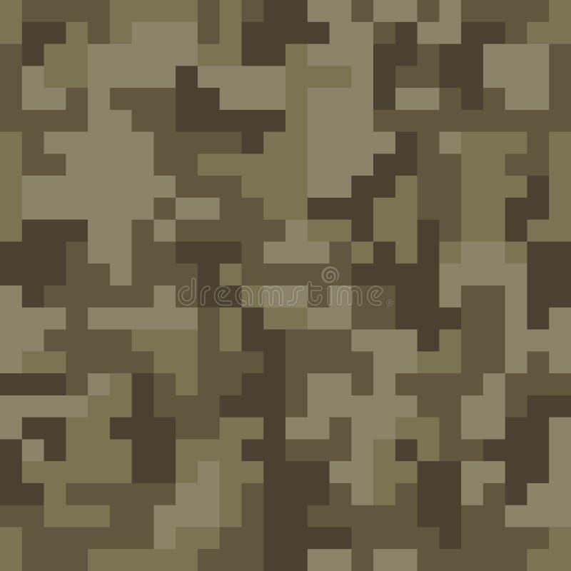 映象点camo无缝的样式 布朗沙漠或密林伪装 皇族释放例证